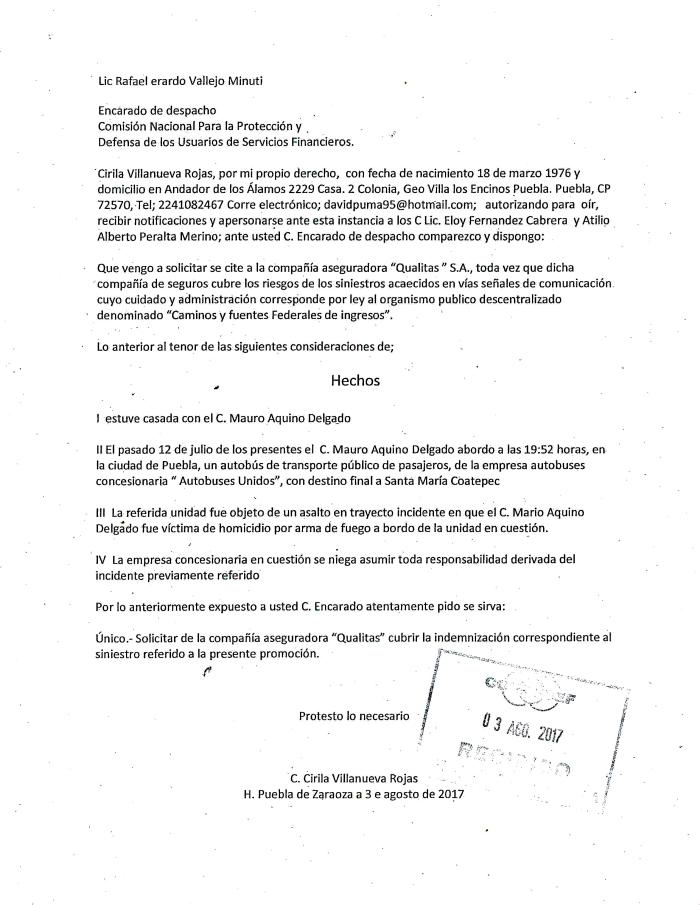 Carta a CONDUSEF - Mauro Aquino